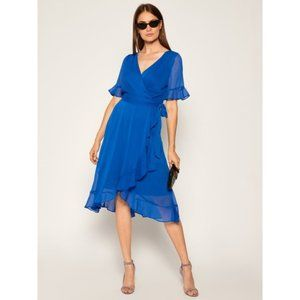 NEW DKNY Rochie Chiffon Blue Faux Wrap Dress